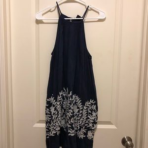 High Neck Navy Dress with Pockets